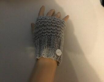 Grey fingerless gloves, knit gloves, hand warmer, grey gloves, texting gloves, womans gloves, teen gloves, wrist warmers,gift for her,