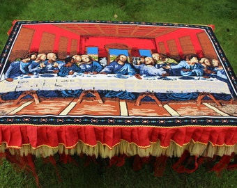 The Last Supper TableCloth Boho Tablecloth Ruffle Table Cloth Unique Table Cloth Shabby Chic Tablecloth Toile TableCloth Handmade Tablecloth