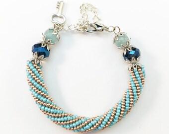 Gold Bangle Bracelet, Bangle Charm Bracelet, Gold Beaded Wrap Bracelet, Turquoise Bead Bracelet, Native American Turquoise Jewelry