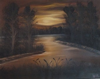 Landscape Oil Painting -An Original  painting by Wendy Margrave -  Dusk