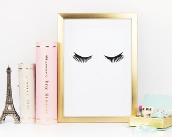 Minimalist Poster Lashes, Makeup Print, Fashion Print, Wall Decor, Minimal Art, Fashion Wall Art, Fashion Poster, Bedroom Print, Glamour Art