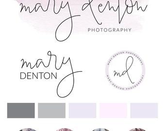 Watercolor Logo Design, Custom Logo Design, Calligraphy Branding, Logo Design Premade Branding Package, stamp,  Photography Logo, watermark