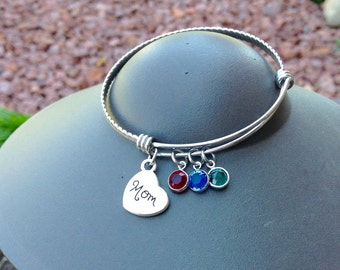 Custom Mom Birthstone Charm Bracelet - Expandable Silver Bangle Bracelet with Swarovski Crystals