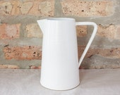 Modern Minimal White Ceramic Pitcher by Barombi Studios