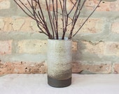 Small Brown & White Ombré Ceramic Cylinder Bud Vase by Barombi Studios