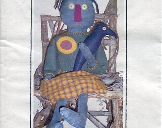 FREE US SHIP Rustic Raggedy's  Primitive Folk Art Doll Della 24 in Craft Sewing Pattern Uncut