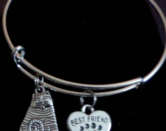 Cat Lover's Adjustable Bangle Bracelet with Charms