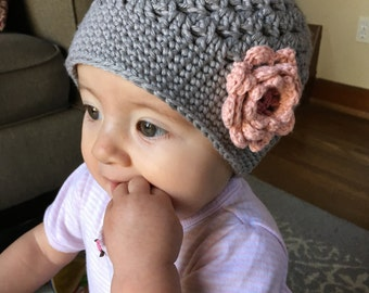 SUMMER SALE Crochet Baby Hat, Crocheted Flower Hat, Baby Girl Hat, Spring Crocheted Hat, Hat with Flower