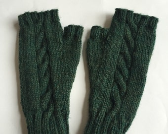 READY TO SHIP Cabled Fingerless Mitts, Green Knit Mittens, Women's Fingerless Mitts, Wool Mittens