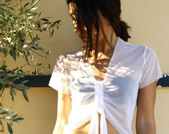 Vintage white elastic sheer crop top.one/size