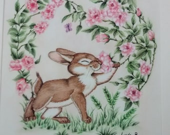 Rabbit with Pink Roses