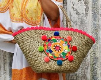 Beach bags/Pompons bags/Straw beach bags/Weekend bags/Travel bags/Boho beach bags * ARRAIAL BEACH BAG