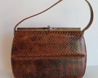 Mad Men Style 1950's Brown Snakeskin Paragon Brand Handbag Purse