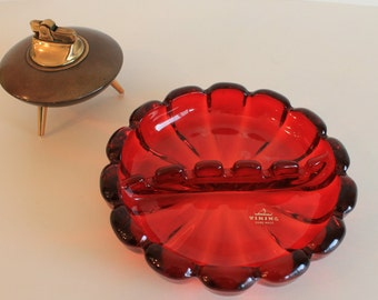 Vintage Red Viking Glass Ash Tray