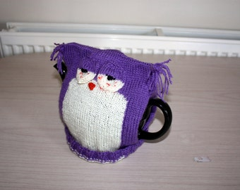 Stoned Owl Tea Cozy, Purple Teapot Cover, Size Medium 4-6 Cup Teapot
