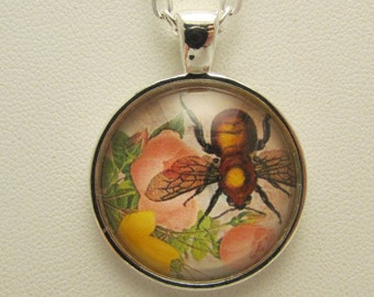 Glass Bumblebee Photo Pendant, Bee Pendant, Glass Photo Jewelry, Glass Bee Necklace, Springtime Pendant, Mother's Day Gift, Gift for Her