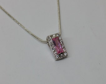 Pendant in Silver 925 crystals pink and clear SK119