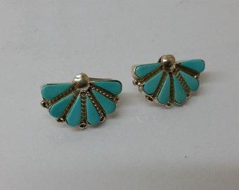 Earrings Silver 925 turquoise fan SO211