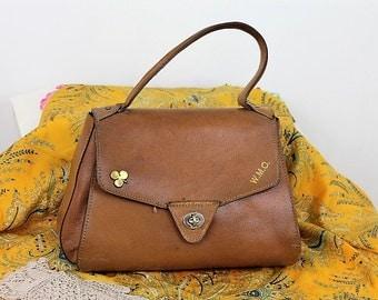 Vintage Leather Satchel Handbag/Leather Handbag/Boho Bag/1893Q
