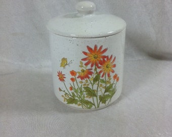 Vintage Storage Jar Orange Flowers On A Jar 6x4 Inches