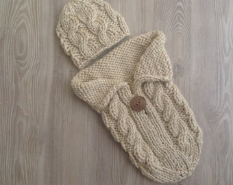 Cocoon, Cable Knit Cocoon, Cocoon for Newborn, Hand Knit Cable Stitch Cocoon,