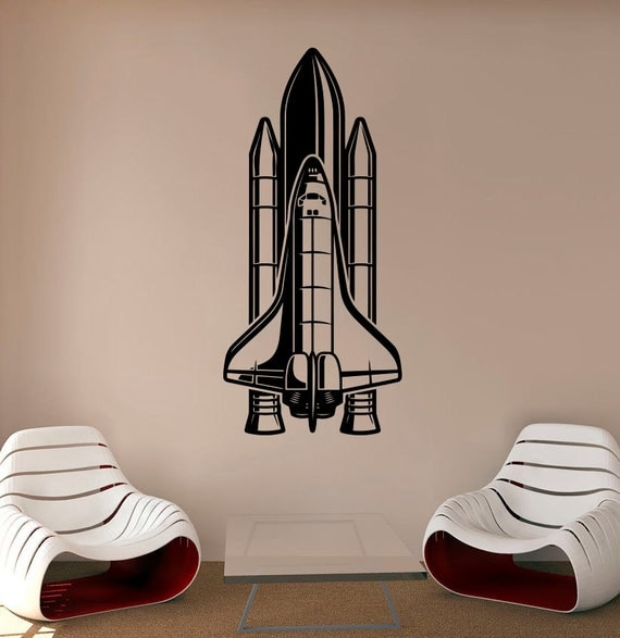 rocket ship wall decal spaceship vinyl sticker space decals