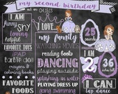 "Sofia The First Birthday Stat ""Chalkboard""(digital poster)"