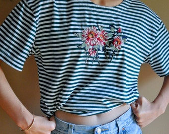 Vintage Striped/Embroidered Flower Tee