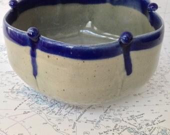 Celadon Stoneware Bowl with Cobalt Pearls