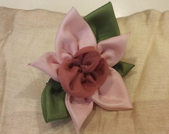 Orchid pin and hair clip, handsewn fabric flower