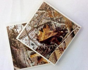 Camo Coasters, Real Tree  Camo Tile Coasters, Man Cave Coasters
