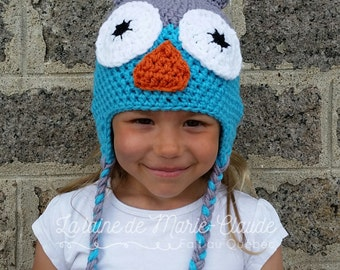 6-10 years, Tuque OWL grey and turquoise, available immediately