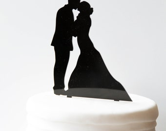 Kissing Wedding Couple Silhouette Cake Topper