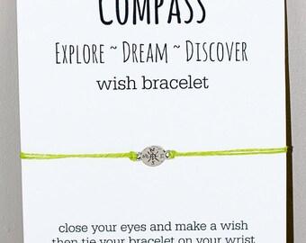 Compass Wish Bracelet - Explore~Dream~Discover