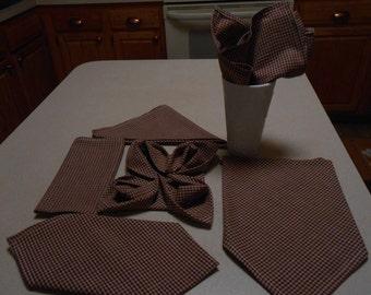 Burgundy/Beige Checked Cotton (6) Handmade Napkins