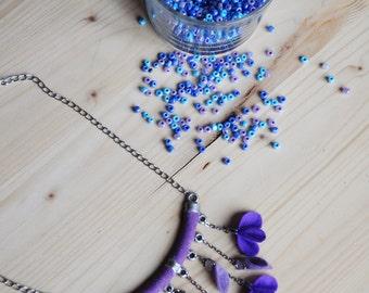 Violet Necklace, Handmade Purple Felting Necklace