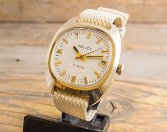 Vintage Poljot mens watch, gold plated Poljot russian watch, vintage mens watch, mechanical watch, retro watch, ussr cccp soviet watch