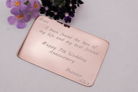 Gifts For 7th Wedding Anniversary: Purse Insert Copper Engraved Keepsake 7th Anniversary Gift