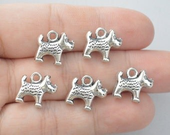 8 Pcs Dog Charms Antique Silver Tone 2 Sided 16x14mm - YD0041