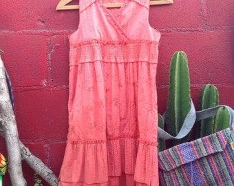 girls melon boho dress, girls summer dress, girls melon tank dress