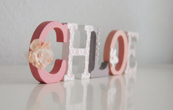 Wooden letters name 8cm 3 hand painted and decorated for Standing wood letters to paint