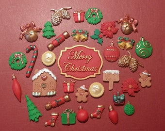 35 Mixed coloured Christmas edible cupcake cake toppers decorations