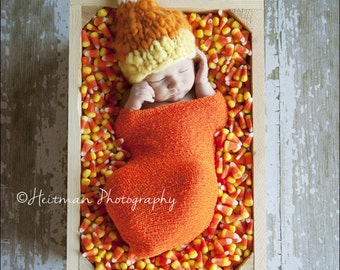 Newborn candy corn hat/ newborn halloween hat, photography prop, Halloween prop