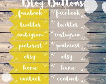 Blog Buttons // Blog Graphics // Blog Template // Social Media Buttons // Social Media Icons // Blog Kit // Blog Design // Sidebar Buttons