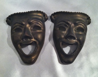 Antique Brass Mardi Gras Masks From New Orleans  - Set Of Two