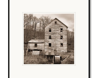 Clements Mill, rural country farmhouse, Virginia, photography, black and white, sepia warm tone, framed photo by Adrian Davis