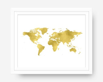 Gold Map, Travel Wall Art, Map Art Print, World Map Wall Art, Travel Printable, Travel Nursery, Gold Wall Art