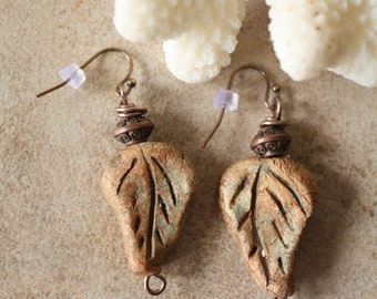 Handmade stoneware clay leaf dangle earrings, copper wire wrapped, rustic, artisan