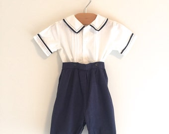 Vintage 80's Boy's Navy & White Two-Piece Outfit, Vintage Boy's Nautical Outfit, Size 18m