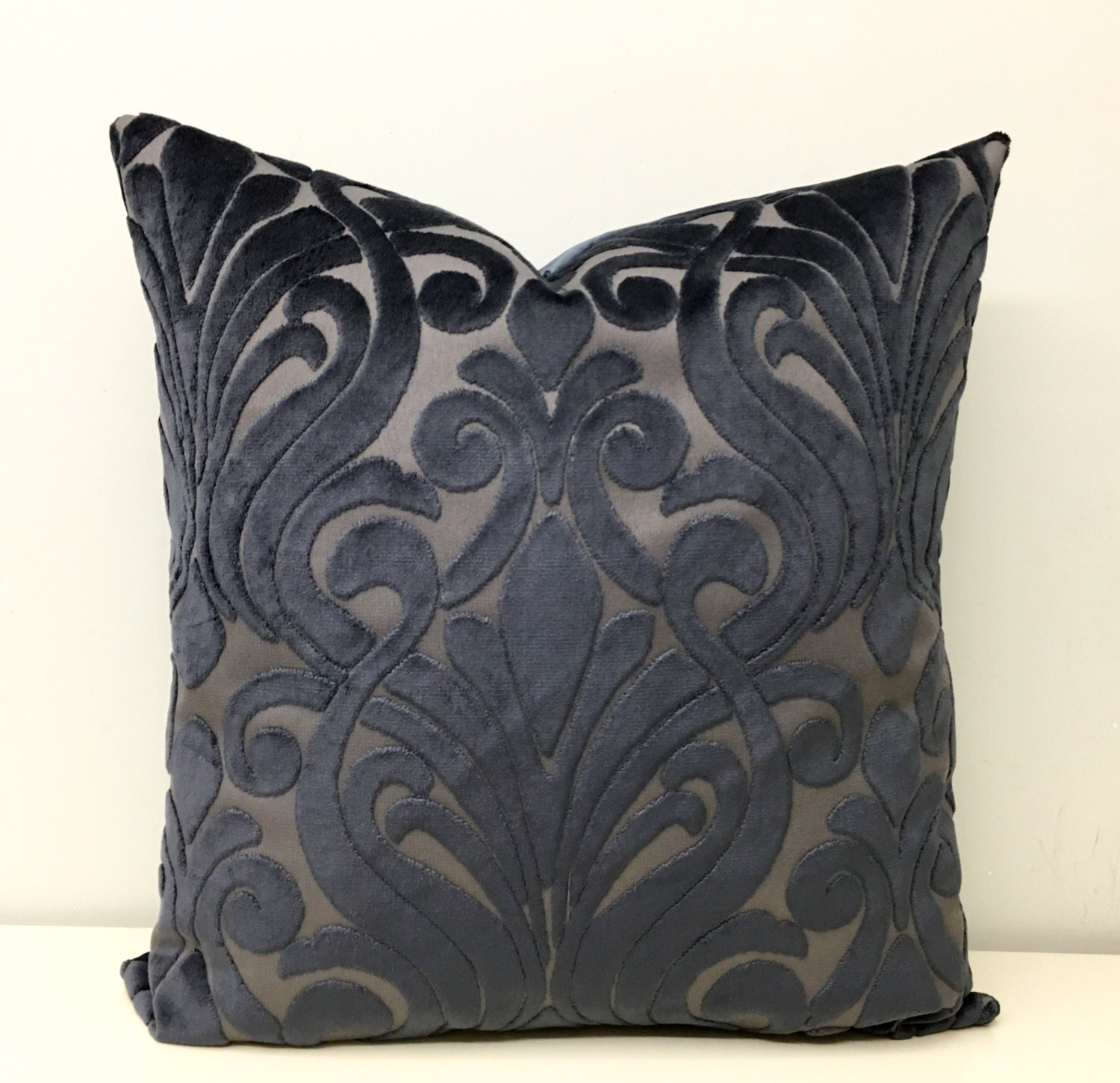 Deep Grey Velvet Pillow Cover Grey Cushion Velvet by artdecopillow